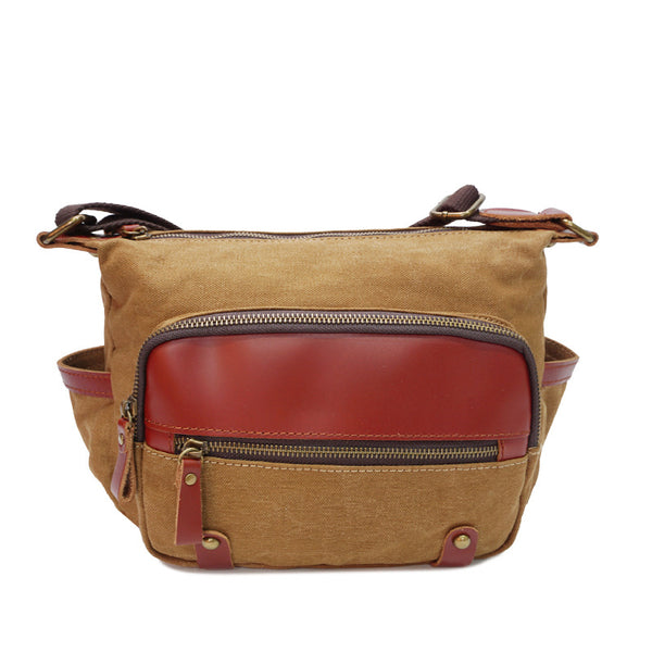 New Leather And Canvas Messenger Bag Fashion Handmade Shoulder Bag Daily Use Canvas Crossbody Bag YD1936