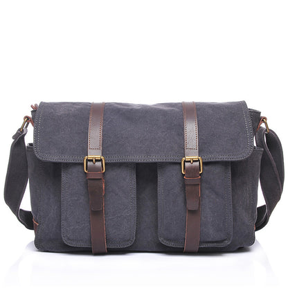 Waxed Canvas Crazy Horse Leather Messenger Bag Crossbody Shoulder Bag Laptop Bag 2156
