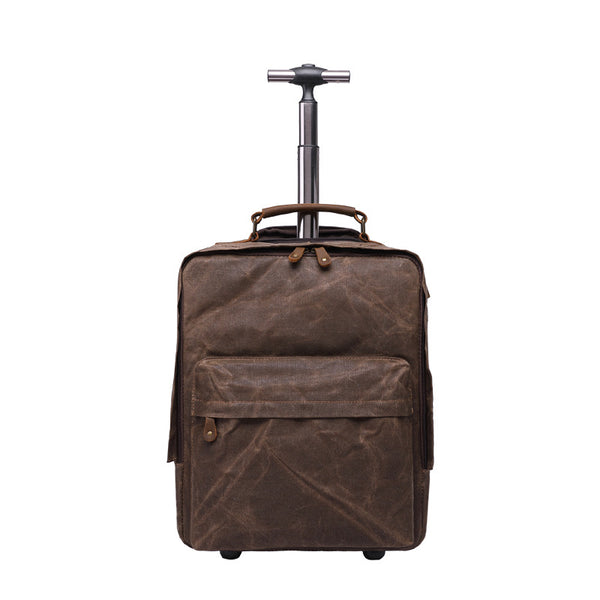 Waxed Canvas Travel Backpack Waterproof Canvas Trolley Backpack Canvas Luggage Backpack YD5532 - ROCKCOWLEATHERSTUDIO