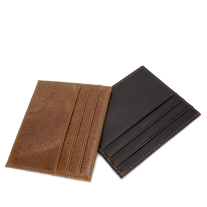 Full Grain Leather Card Holder Unisex Coin Purse Ultra Thin Wallet YD6609 - ROCKCOWLEATHERSTUDIO