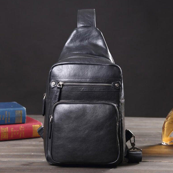 Retro Messenger Bag Full Grain Leather Chest Pack Men Sling Bag V171059