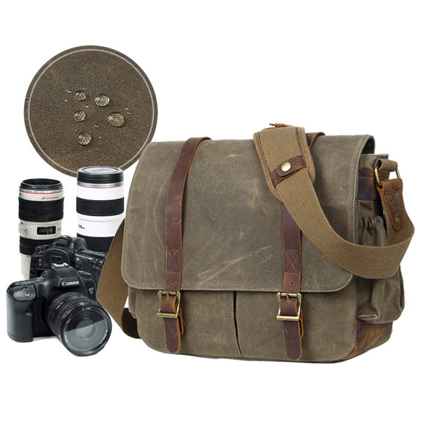 DSLR Camera Messenger Bag Waterproof Canvas Shoulder Bag Camera Bag QSM270 - ROCKCOWLEATHERSTUDIO