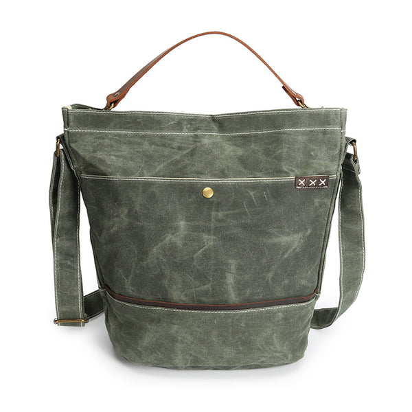 Men Waterproof Canvas Tote Bag Leather With Canvas Men Shoulder Messenger Bag Waxed Canvas Handbag YD3088