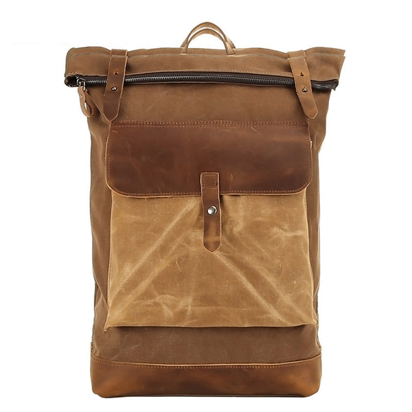 Waxed Canvas Top Grain Leather Backpack, Stylish Travel Backpack, Vintage Rucksack 1004-1 - ROCKCOWLEATHERSTUDIO