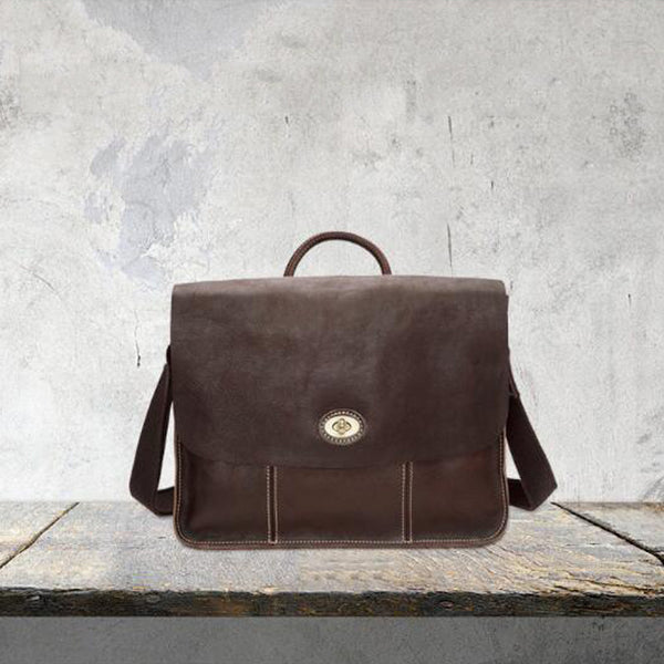 Men Briefcase Full Grain Leather Messenger Bag Men Tote Bag YD8109 - ROCKCOWLEATHERSTUDIO