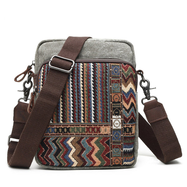 7e40edbb9645 Handmade Canvas Leather Bag Chinese Style Messenger Bag Crossbody Shoulder  Bag 80562-1