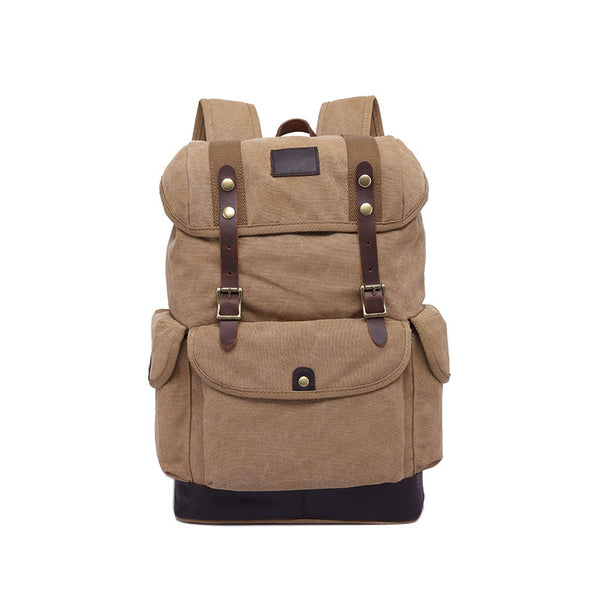 Men Canvas Backpack Canvas Casual School Backpack Large Capacity Men Travel Backpack YD2328 - ROCKCOWLEATHERSTUDIO