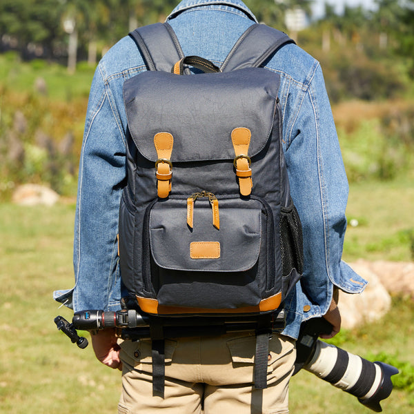 Waterproof Men Canvas Backpack DSLR Camera Backpack Canvas Camera Backpack QSM279