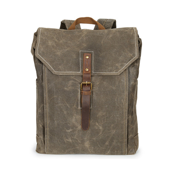 Waxed Canvas Leather Backpack, Big Capacity Laptop Backpack, Vintage Waterproof Shoulder School Bag 5238
