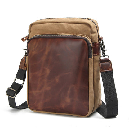 New Design Canvas Leather Messenger Bag Casual Korean Style Crossbody Shoulder Bag For Men 80562A