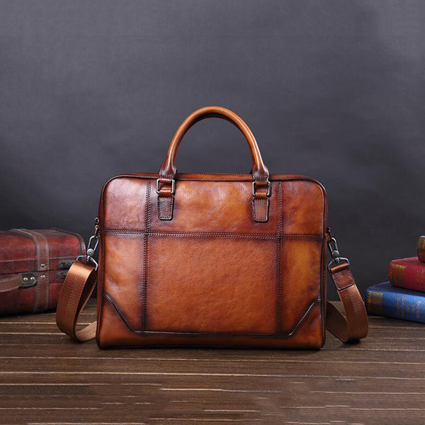 Men Full Grain Leather Briefcase Men Laptop Bag Shoulder Messenger Bag V181047 - ROCKCOWLEATHERSTUDIO