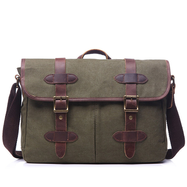 Men Canvas Shoulder Bag Retro Canvas Tote Briefcase Leather With Canvas Men Messenger Bag YD1995-1 - ROCKCOWLEATHERSTUDIO