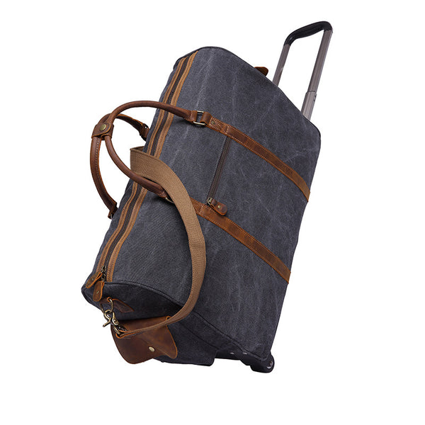 Leather With Canvas Tote Messenger Travel Bag Men Canvas Trolley Luggage Men Shoulder Travel Bag YD2309