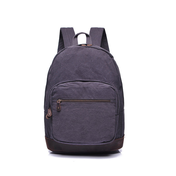 New Men Canvas Backpack Vintage Leather With Canvas School Backpack Large Capacity Travel Backpack YD2215 - ROCKCOWLEATHERSTUDIO