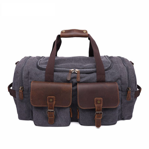 ROCKCOW Weekender Overnight Bag Canvas Genuine Leather Travel Duffel Tote AF14 - ROCKCOWLEATHERSTUDIO