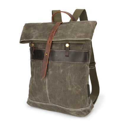 Waxed Canvas Leather Backpack, Big Capacity Laptop Backpack, Vintage Waterproof Shoulder School Bag 3152