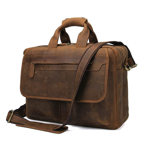 Big Capacity Laptop Messenger Bag Business Briefcase Men Crazy Horse Leather Bags Side Bags 7395 - ROCKCOWLEATHERSTUDIO