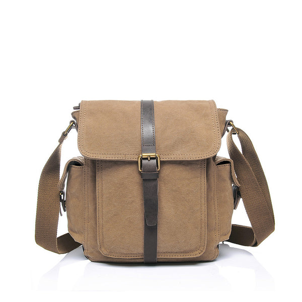 Vintage Canvas Satchel Leather With Canvas Crossbody Bag Unisex Small Messenger Bag YD2157 - ROCKCOWLEATHERSTUDIO