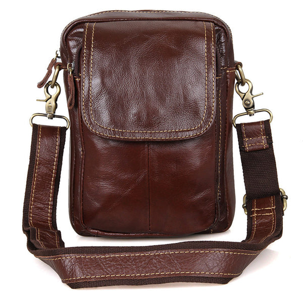 New Fashion Messenger Bags Casual Leather Bags For Men Leather Messenger Corssbody Side Chest Bag 1004B - ROCKCOWLEATHERSTUDIO