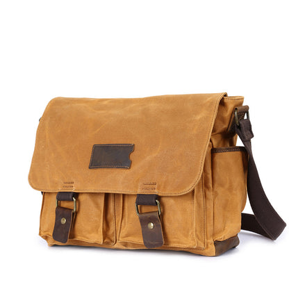 Waxed Canvas Crazy Horse Leather Messenger Bag Crossbody Shoulder Bag Laptop Bag 5356