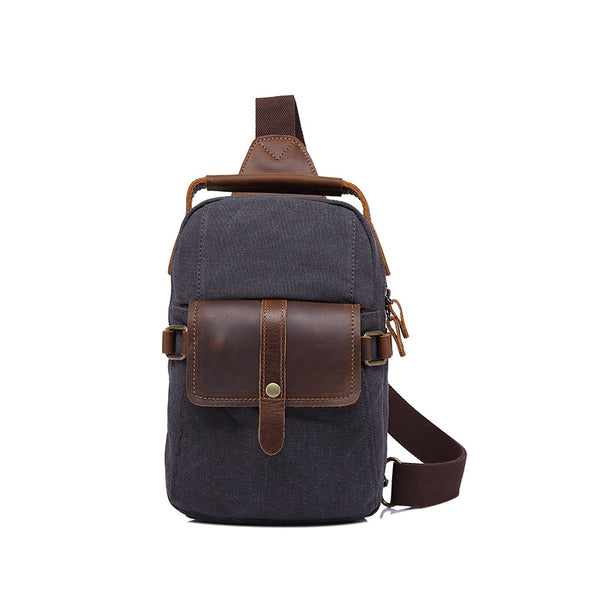 Canvas Top Grain Leather Men Chest Pack Men Crossbody Sling Bag Vintage Men Shoulder Bag YD2313 - ROCKCOWLEATHERSTUDIO