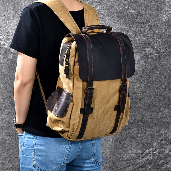 Canvas With Crazy Horse Leather Men Backpack Retro Travel Backpack School Backpack ESS2182 - ROCKCOWLEATHERSTUDIO