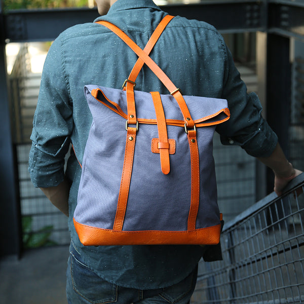 Handmade Canvas With Vegetable Tanned Leather Backpack Travel Backpack Stylish Backpack Z8005