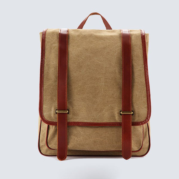 Waxed Canvas Backpack with Full Grain Leather, Casual Backpack, School Backpack, Vintage Rucksack 1831