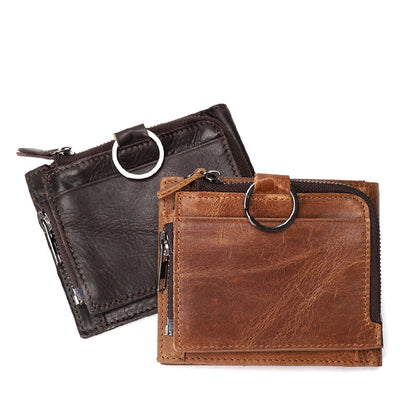Men Retro Short Wallet Full Grain Leather Zipper Wallet Mini Clutch YD6613