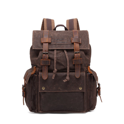 Outing Waxed Canvas Leather Backpack, Big Capacity Laptop Backpack, Vintage Waterproof Shoulder School Bag 5358