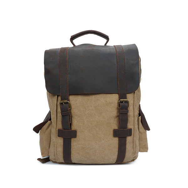 Unisex Canvas Backpack Canvas Travel Backpack Leather With Canvas School Backpack YD1820-2 - ROCKCOWLEATHERSTUDIO