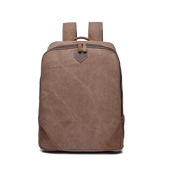 Retro Men Canvas Backpack Top Grain Leather With Canvas Backpack Canvas Casual School Bag YD2202 - ROCKCOWLEATHERSTUDIO