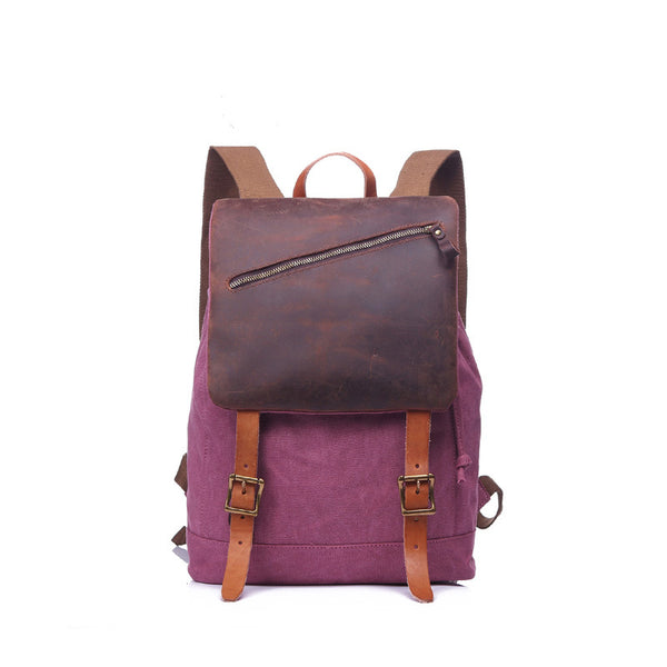 Top Grain Leather With Canvas Vintage Backpack Canvas School Backpack Large Capacity Backpack YD1978