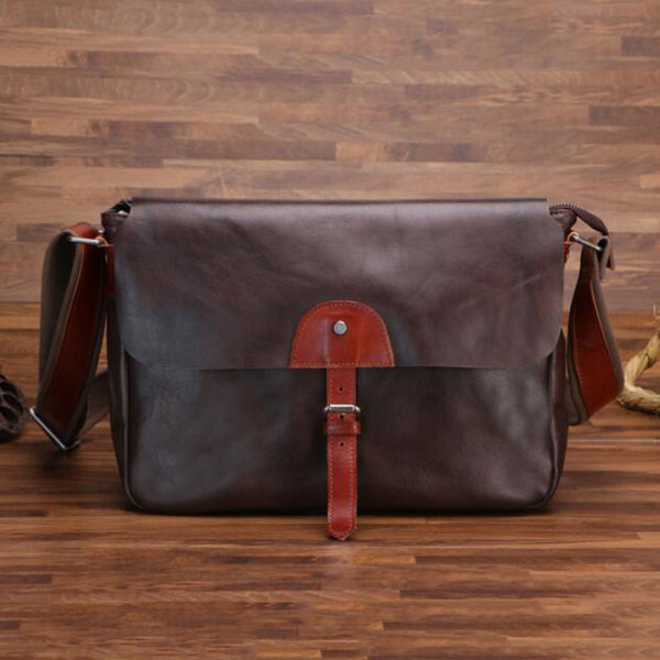 Retro Men Flip Cover Shoulder Bag Full Grain Leather Messenger Bag Crossbody Bag PEY34568621