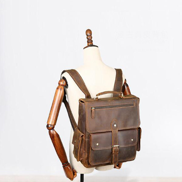 Crazy Horse Leather Backpack Retro Men Large Capacity Backpack Handmade College Backpack YD8057 - ROCKCOWLEATHERSTUDIO
