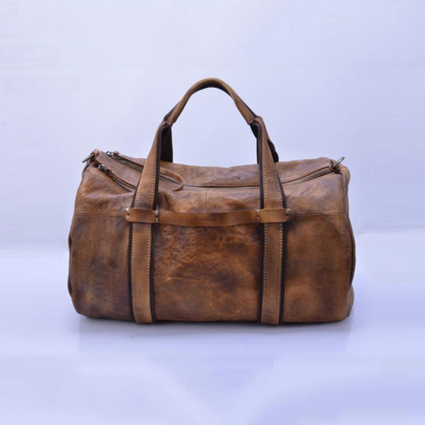 Full Grain Leather Tote Travel Bag Retro Travel Bag Weekend Bag V150579 - ROCKCOWLEATHERSTUDIO