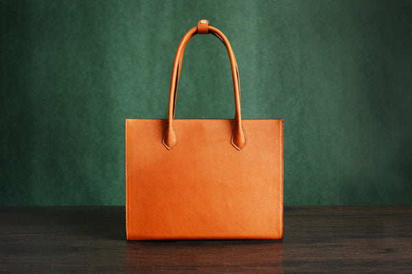 100% Handmade Italian Vegetable Tanned Leather Tote Bag, Shoulder Bag, Lady Shopper Bag D010 - ROCKCOWLEATHERSTUDIO