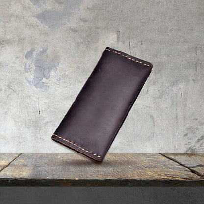 Full Grain Leather Long Wallet Retro Cell Phone Wallet Men Long Clutch YD1017 - ROCKCOWLEATHERSTUDIO