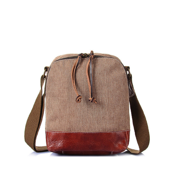 Men Canvas Shoulder Bag Retro Men Small Travel Bag Leather With Canvas Men Messenger Bag YD2119 - ROCKCOWLEATHERSTUDIO