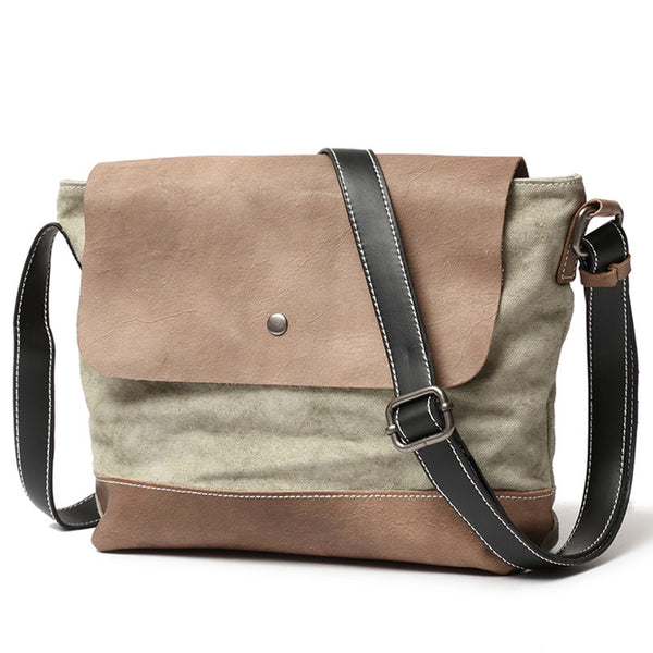 Crossbody Handmade Canvas Leather Messenger Bag Vintage Shoulder Bag 222 - ROCKCOWLEATHERSTUDIO