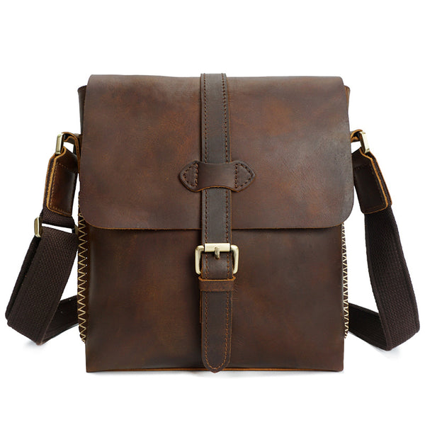 Crazy Horse Leather Men Messenger Bag Handmade Men Shoulder Bag Retro Satchel YD8086 - ROCKCOWLEATHERSTUDIO