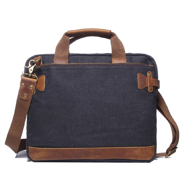 Men Canvas Briefcase Retro Canvas Tote Shoulder Bag Leather With Canvas Messenger Bag YD2053 - ROCKCOWLEATHERSTUDIO
