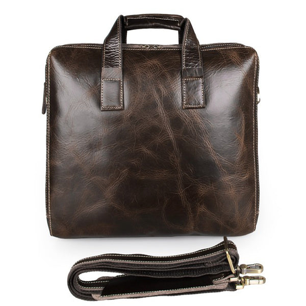 Genuine Leather Briefcase High-Quality Leather Messenger Bags Men's Crossbody Shoulder Bag 7167 - ROCKCOWLEATHERSTUDIO