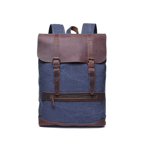 Top Grain Leather With Canvas Backpack Unisex Vintage School Backpack Large Capacity Travel Backpack YD2163 - ROCKCOWLEATHERSTUDIO