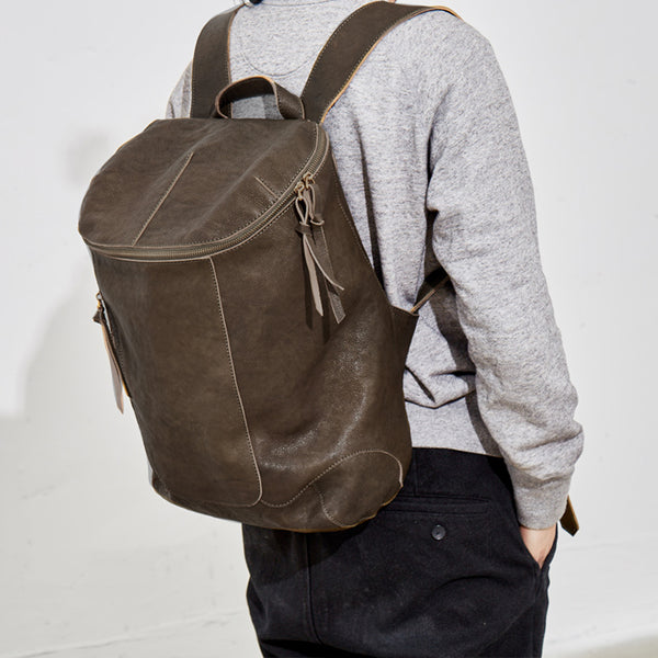 Unisex Travel Backpack Full Grain Leather Backpack Laptop Backpack BF1358