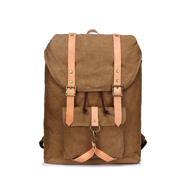 Men Leather With Canvas Men Backpack Retro Canvas School Backpack Large Capacity Travel Backpack YD1963 - ROCKCOWLEATHERSTUDIO