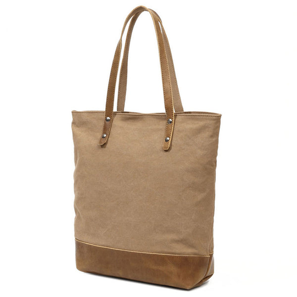 Latest Style Canvas Leather Tote Bag, Women Shoulder Bags, Shopper Bag, Casual Daily Bag 2007-1 - ROCKCOWLEATHERSTUDIO