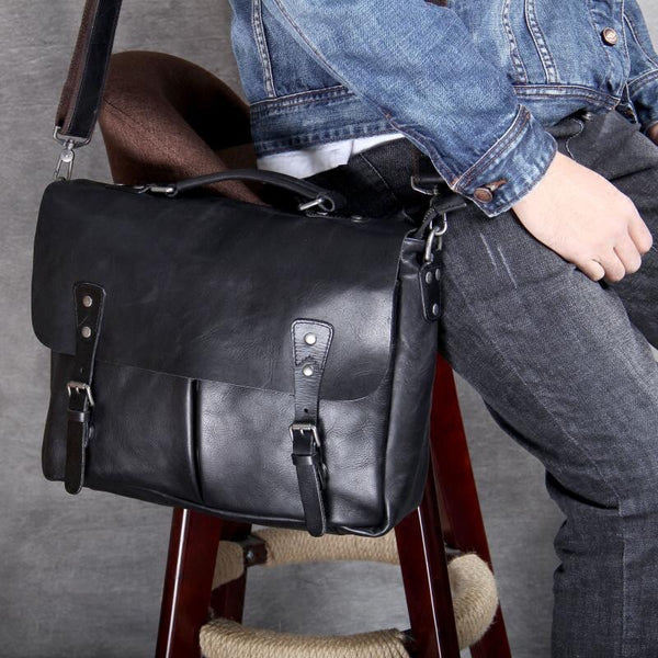 Men Handmade Briefcase Retro Shoulder Laptop Bag Full Grain Leather Messenger Bag PEYB78 - ROCKCOWLEATHERSTUDIO