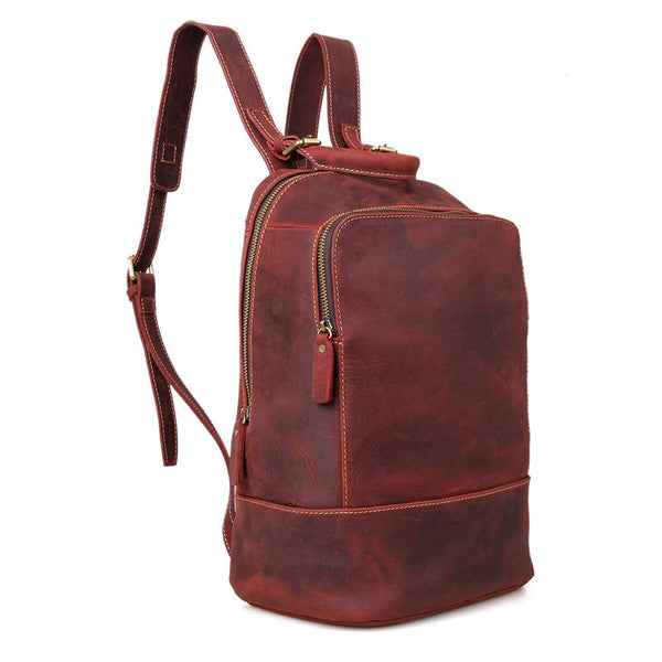 Top Grain Leather School Backpack, Vintage Shoulder Travel Bag, Crazy Horse Backpack For Women and Men C008 - ROCKCOWLEATHERSTUDIO
