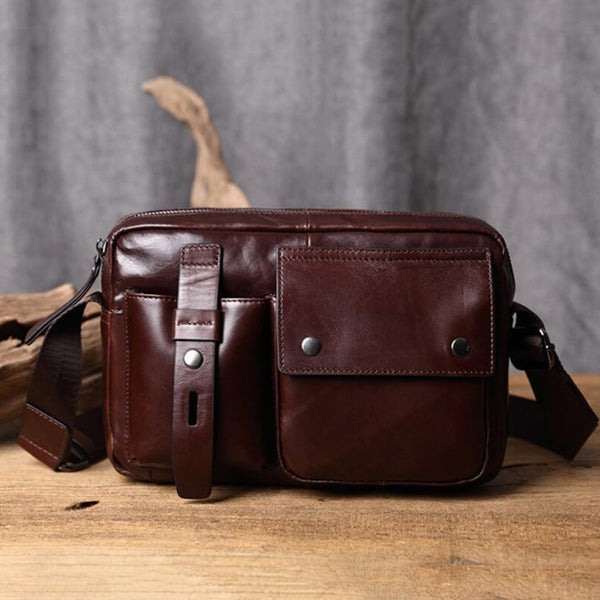 Full Grain Leather Messenger Bag Retro Shoulder Bag Crossbody Bag V171196 - ROCKCOWLEATHERSTUDIO